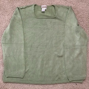 Green long sleeve sweater by Coldwater Creek
